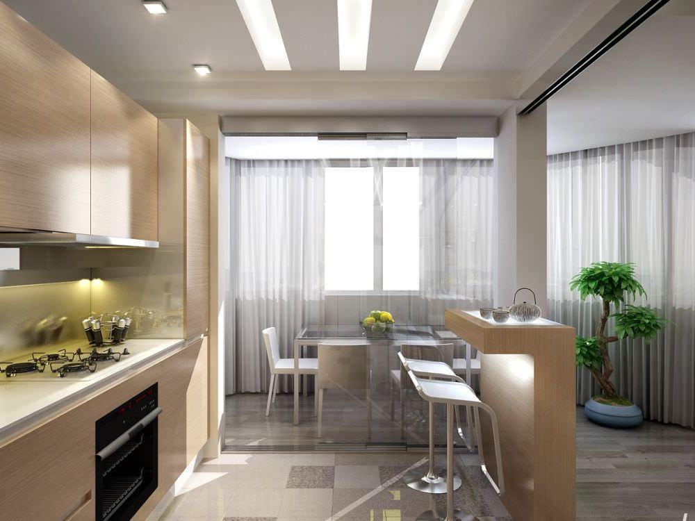 Кухня с залом и балконом..