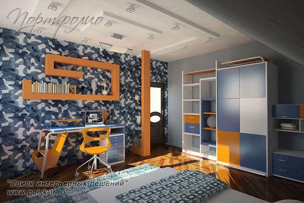 Красивые интерьеры мансардной комнаты детской для мальчика - Новый.