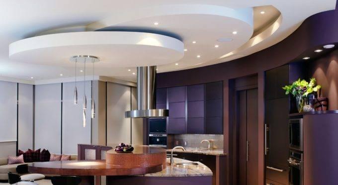 Фигурные потолки в интерьере в виде круга