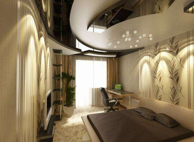 Фигурные потолки в интерьере