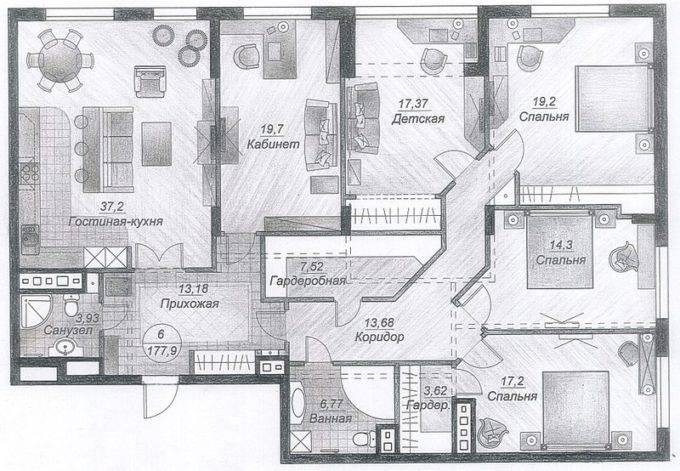Планировка четырех комнатной квартиры