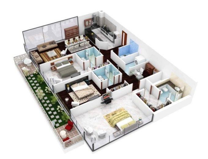 Планировка 4х комнатной квартиры