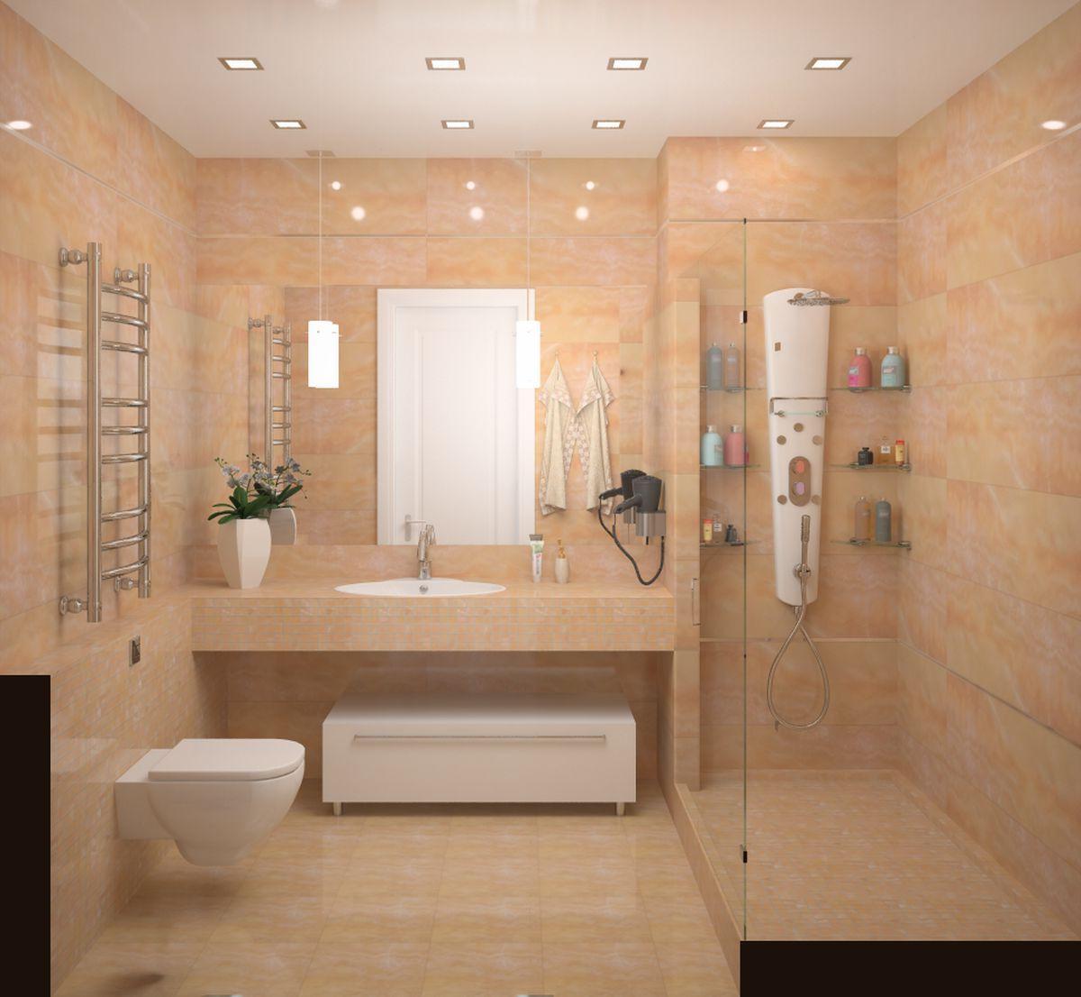 Дизайны ванных комнат с душевыми кабинами фото