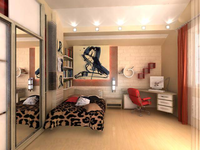 Дизайн прямоугольной комнаты для молодо