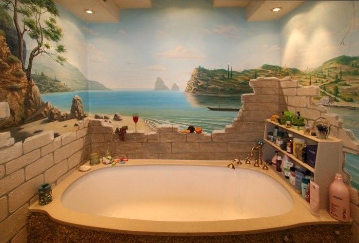 Дизайн ванной необычный
