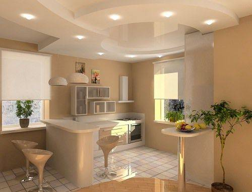 ремонт кухни потолок фото