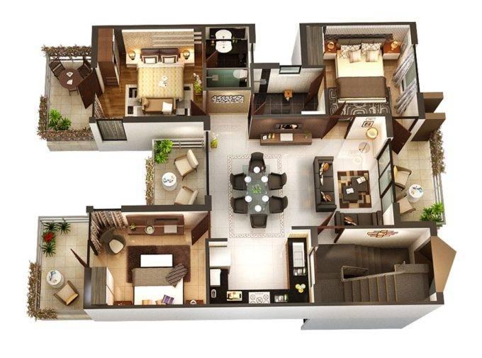 Варианты планировки трехкомнатных квартир