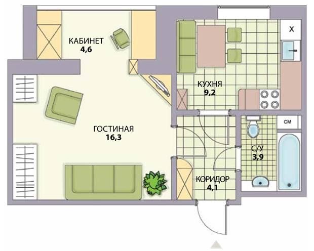 Перепланировка 1 комнатной квартиры 36 м2