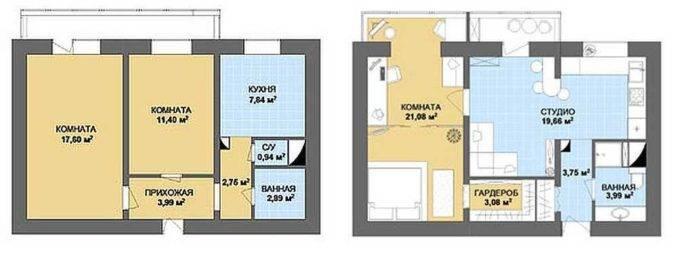 планировки двухкомнатных квартир в хрущевке