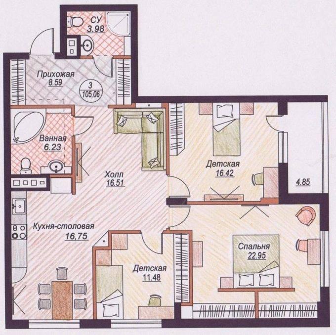 планировки трехкомнатных квартир