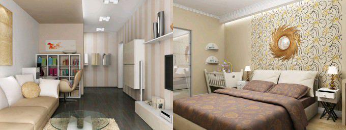 Единый стиль и цветовая гамма в оформлении двух комнат