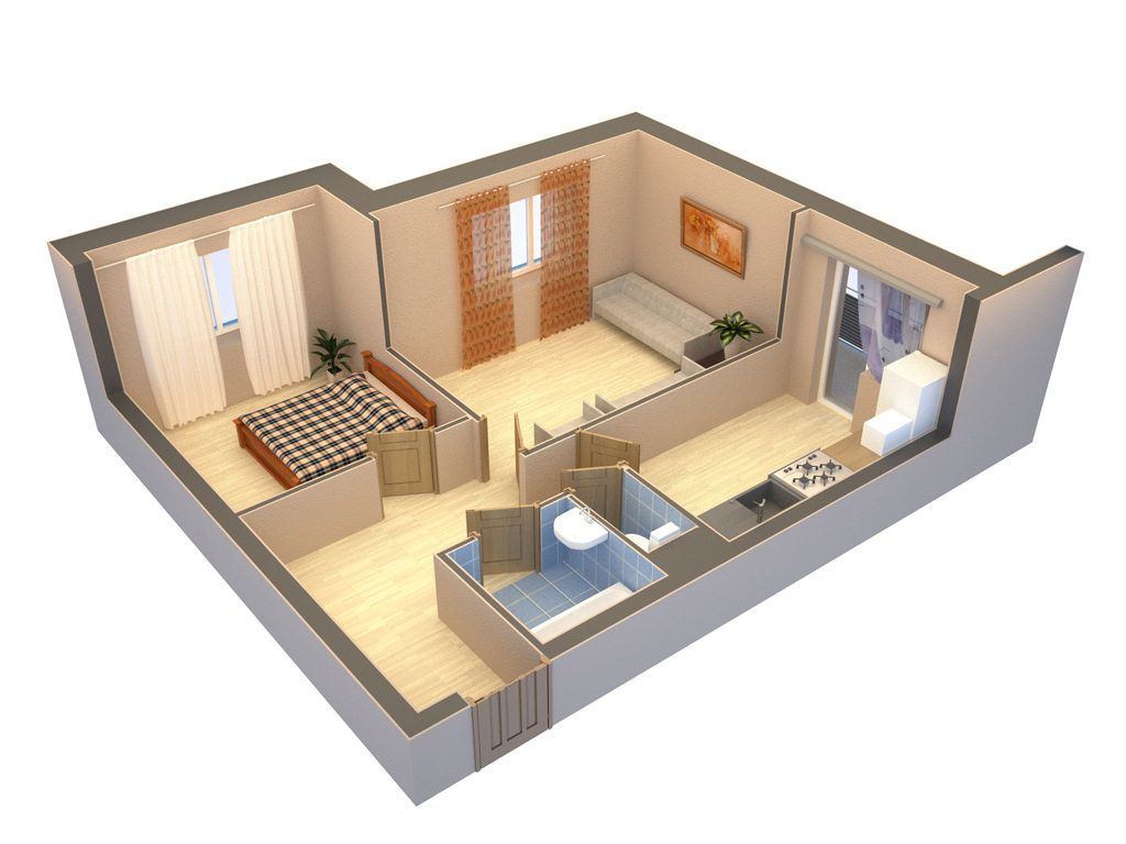 Дизайн интерьера 2-х комнатной квартиры в хрущевке